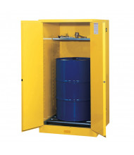 Justrite Sure-Grip EX 55 Gal Fire Resistant Drum Storage Cabinet with Drum Rollers (Shown in Yellow)
