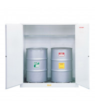 Just-Rite 8991053 Flammable Waste Vertical Two Door Drum Safety Cabinet, 55 Gallon Drums, White