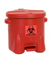 Eagle 945BIO 10 Gallon Polyethylene Biohazard Waste Safety Can with Foot Lever, Red