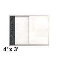 Best-Rite 94SVSC-96 Visionary 4 x 3 Sliding Glass Whiteboard Rubber-Tak Cabinet