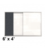 Best-Rite Visionary 6 x 4 Sliding Glass Whiteboard Rubber-Tak Cabinet