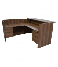 "Cherryman Amber 71"" W Wood Counter Suspended Pedestals L-Shaped Reception Desk (Shown in Walnut)"
