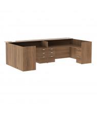 "Cherryman Amber 142"" W Glass Counter Pedestals U-Shaped Reception Desk (Shown in Walnut)"