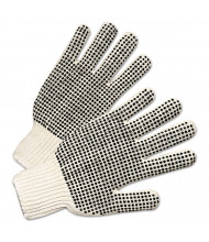 Anchor PVC-Dotted String Knit Gloves, Natural White/Black, 12/Pairs