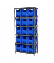 "Akro-Mils 6-Shelf 18"" D Steel Shelving Unit with Stak-N-Store Bins (Shown with Blue Bins)"