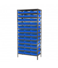 "Akro-Mils 13-Shelf 18"" D Steel Shelving Unit with 4"" H Bins (Shown with Blue Bins)"