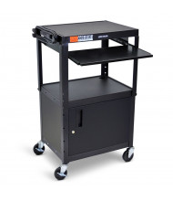 Luxor 2-Shelf Height Adjustable Pull-Out Tray Presentation AV Cart (Shown in Black)