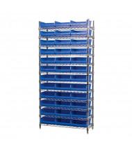 "Akro-Mils 12-Shelf 14"" D Wire Shelving Unit with 4"" H Bins (11-5/8"" D x 11-1/8"" W x 4"" H model shown)"