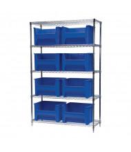 "Akro-Mils 5-Shelf 18"" D Wire Shelving Unit with Stak-N-Store Bins (17-1/2"" D x 16-1/2"" W x 12-1/2"" H model shown)"
