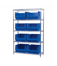"""Akro-Mils 18"""" D Wire Shelving Unit with Super-Size AkroBins (Shown with 8 Blue Bins)"""