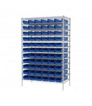 "Akro-Mils 12-Shelf 24"" D Wire Shelving Unit with 4"" H Bins (23-5/8"" D x 6-5/8"" W x 4"" H model shown)"