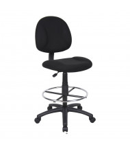 Boss B1615 Contoured Back Fabric Drafting Stool, Footring (Shown in Black)