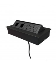 """Mho 2-Power Outlet & 2 Open Data Port Pop-Up Power Module 72"""" Cord (Shown in Black)"""