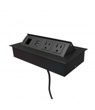 """Mho 2-Power Outlet, 2-USB Charging & Open Data Port Pop-Up Power Module 72"""" Cord (Shown in Black)"""