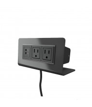 """Axil M 2-Power Outlet & 2-USB Charging Port Power Module 72"""" Cord, (Shown in Gloss Black)"""