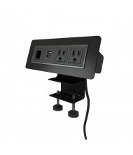 """Axil X 2-Power Outlet, 2-USB Charging & Open Data Port Edge Mount Power Module 72"""" Cord, (Shown in Black)"""
