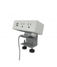 """Dean 2-Power Outlet & 2-USB Charging Port Edge Mount Power Module 72"""" Cord (Shown in White)"""