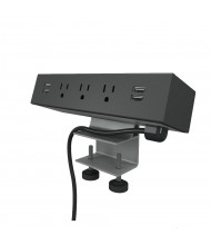 """Dean 3-Power Outlet & 4-USB Charging Port Edge Mount Power Module 72"""" Cord, (Shown in Black)"""