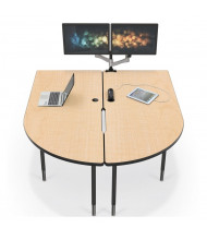 """Balt MediaSpace 72"""" W x 59"""" D Adjustable Makerspace School Table (Shown in Fusion Maple/Black, Pop-Up Grommet Not Included))"""