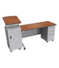 """Balt 72"""" W Height Adjustable Single Pedestal Podium Teacher Desk (Shown in Amber Cherry)"""
