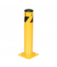 """Vestil 5.5"""" Round Removable Plastic Cap Steel Pipe Bollard Post with Chain Slots (24"""" model shown)"""