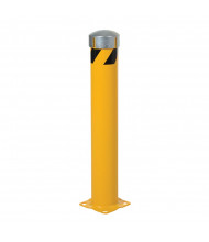 """Vestil 5.5"""" Round Removable Bolt-On Cap Steel Pipe Bollard Post with Chain Slots (24"""" model)"""