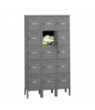 Tennsco Assembled 5 Tier 3-Wide Metal Box Lockers with Legs (Shown in Medium Grey)