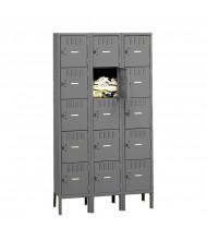 Tennsco Unassembled 5-Tiered 3-Wide High Steel Box Lockers with Legs (Shown in Medium Grey)