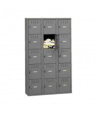 Tennsco Unassembled 5 Tier 3-Wide Metal Box Lockers without Legs (Shown in Medium Grey)