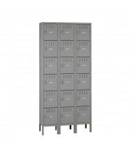 Tennsco Unassembled 6-Tier 3-Wide Metal Box Lockers with Legs (Shown in Medium Grey)