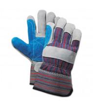 Boardwalk Cow Split Leather Double Palm Gloves, Gray/Blue, Large, 12/Pair
