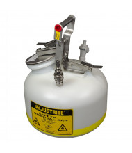 "Justrite BY12752 Polyethylene 2 Gallon Disposal Safety Can, 3/8"" Poly/SS Fitting"