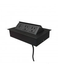 Mho 2-Power Outlet & 2-USB Charging Port Pop-Up Power Module, (Shown in Black)