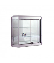 "Tecno C13 38"" W Six-Sided Shadow Box Wall Display Case 10"" D x 32"" H (silver frame/ silver finish)"