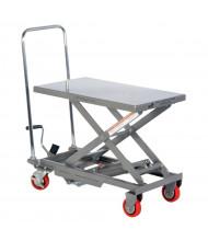 """Vestil 220 lb Load 15.75"""" x 27.5"""" Manual Hydraulic Aluminum Elevating Lift Cart"""