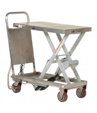 """Vestil Partially Stainless Steel Linear Actuated Elevating Cart 500 lb Load 19.5"""" x 32"""""""
