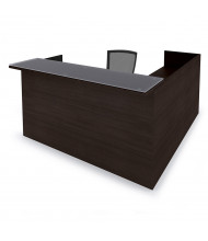"Cherryman Amber 71"" W Glass Counter Double Pedestal L-Shaped Reception Desk (Shown in Black Cherry)"