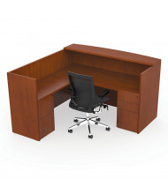 """Cherryman Ruby 72"""" W Double Pedestal L-Shaped Reception Desk, Paprika Cherry (Chair Is Not Included)"""