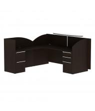 "Cherryman Verde 82"" W Double Pedestal L-Shaped Reception Desk, Left (Shown in Espresso)"