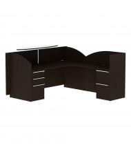 """Cherryman Verde 82"""" W Double Pedestal L-Shaped Reception Desk, Right (Shown in Espresso)"""
