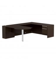 Cherryman Verde L-Shaped Pedestal Office Desk, Right Return (Shown in Espresso)