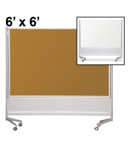 Best-Rite Dura-Rite Laminate/Cork 6 x 6 D.O.C. Mobile Divider Reversible (Both Sides Shown)