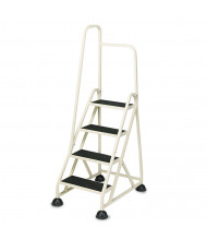 "Cramer 66-1/4"" H Four-Step Stop-Step Folding Aluminum Ladder, Left Handrail, Beige"