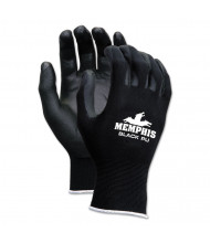Economy PU Coated Work Gloves, Black, Small, 12/Pairs