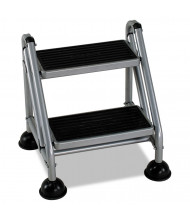 Cosco 2 Step Rolling Step Stool, Steel, Platinum/Black