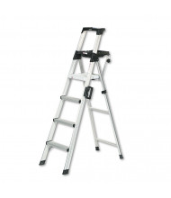 Cosco Signature Series 6 H 4-Step Aluminum Folding Step Ladder, With Leg Lock & Handle, Aluminum