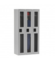 "Tennsco C-Thru Assembled Single Tier 3 Wide 12"" W x 18"" D x 72"" H without Legs - Shown in Light Grey"