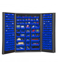 "Durham Steel 48"" W x 24"" D x 78"" H Bin Storage Cabinet, 176 Hook-On Bins (Shown in Blue)"