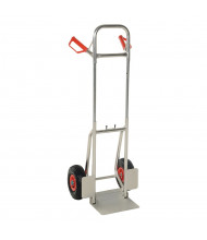 """Vestil DHHT-250A Dual Handle 250 lb Load 11.75"""" Nose Aluminum Fold Down Hand Trucks (Shown with Pneumatic Wheels)"""
