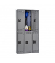Tennsco Unassembled Double Tier 3-Wide Steel Lockers without Legs (Shown in Medium Grey)